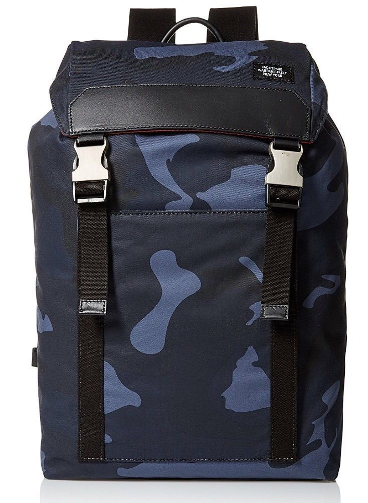 Jack Spade Waxwear Army Backpack Blue Camo