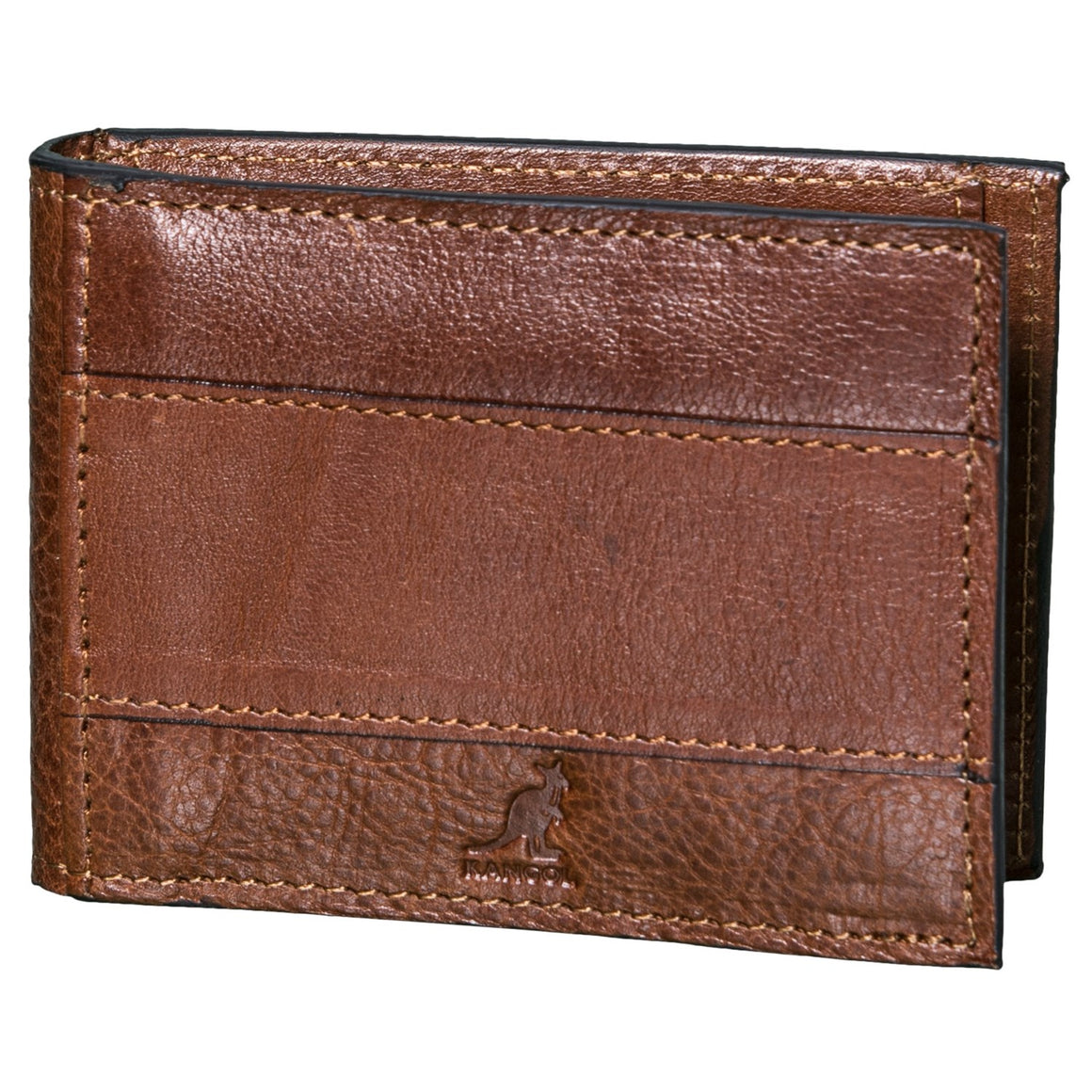 Kangol Britain Leather Mitch Bifold Money Clip Wallet Cognac