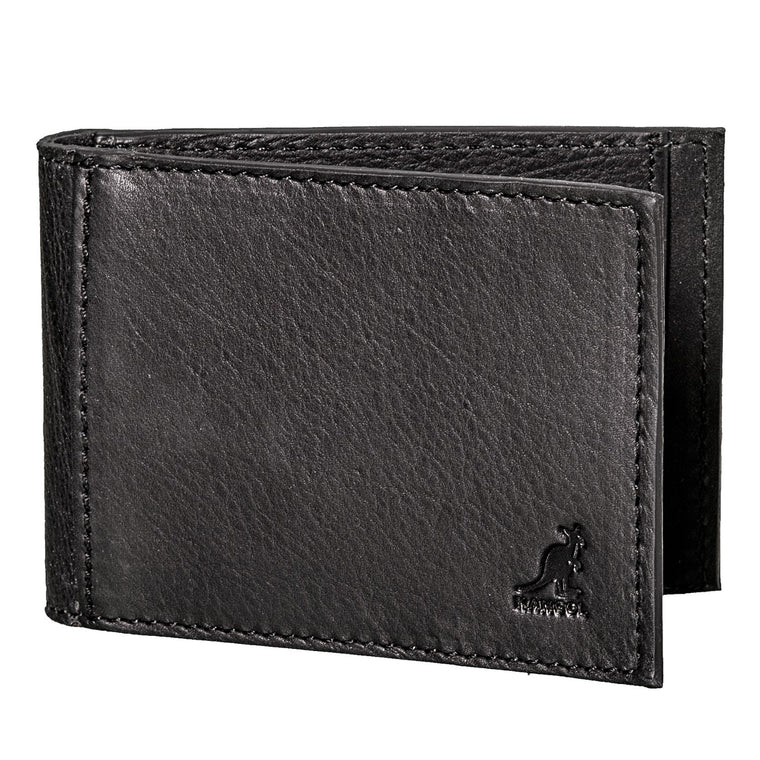 Kangol Britain Leather Phil Bifold Money Clip ID Wallet Black