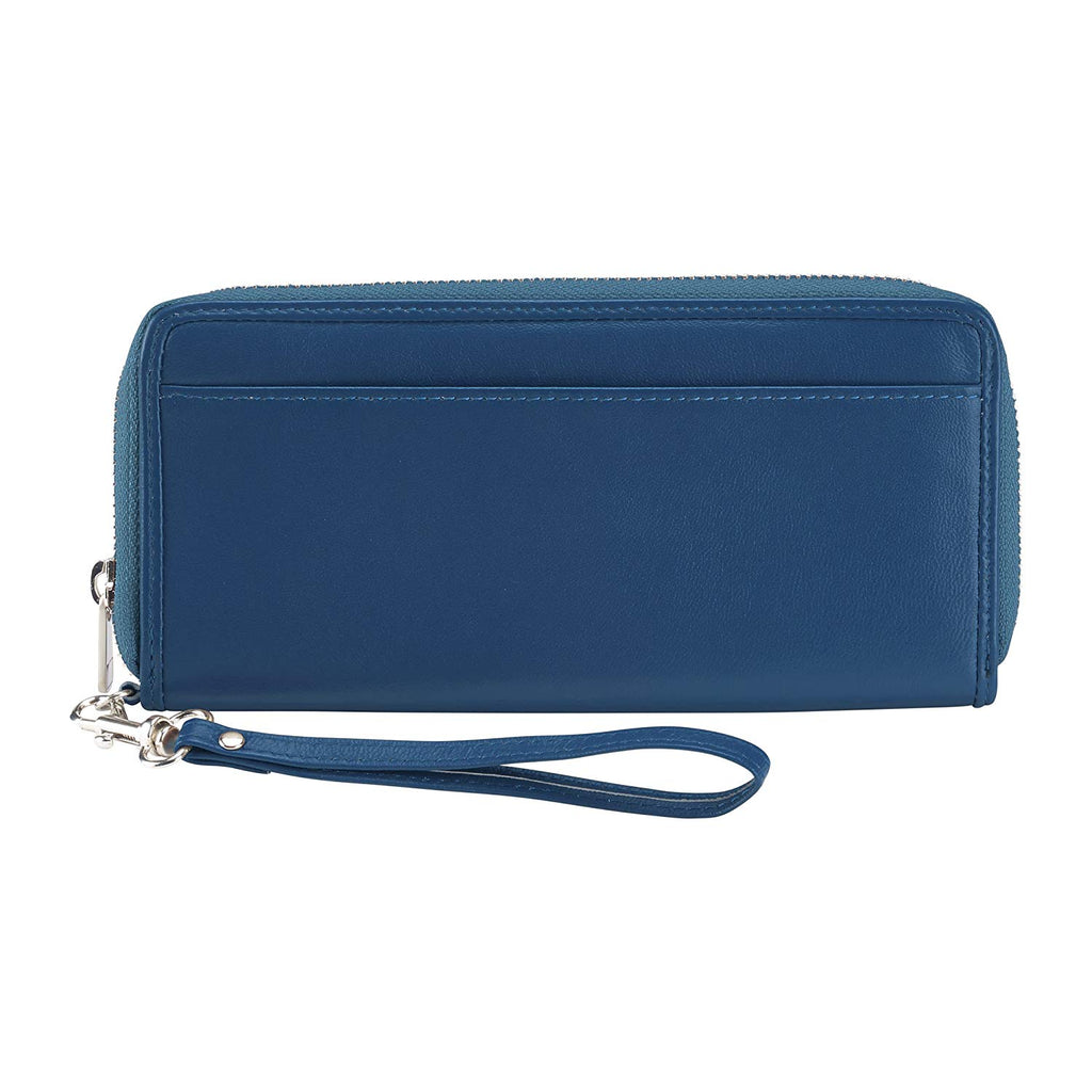 Lewis N Clark Leather RFID Clutch Wristlet Wallet Blue