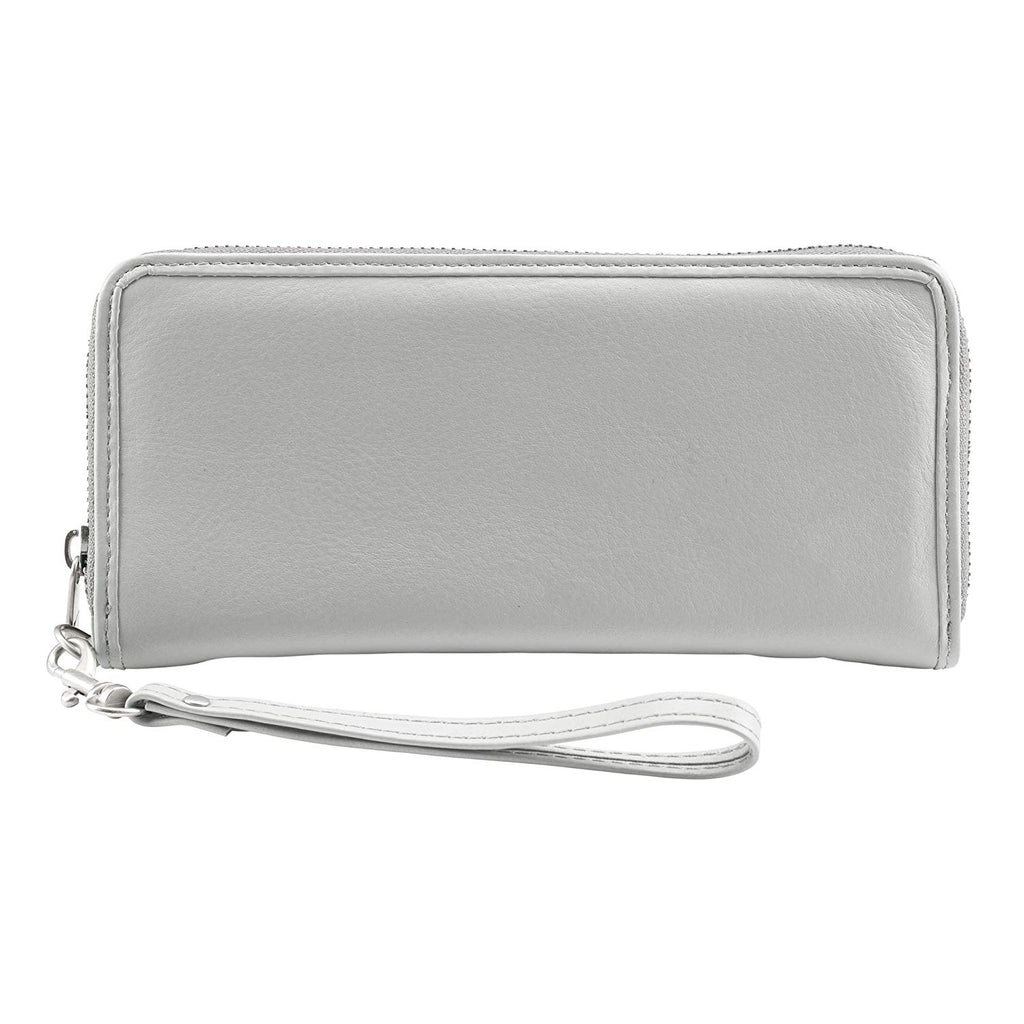 Lewis N Clark Leather RFID Clutch Wristlet Wallet Grey