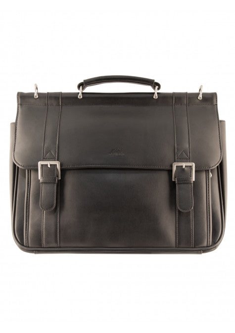 Mancini Leather 5th Avenue Front Flap Double Gusset Laptop Tablet Briefcase Black