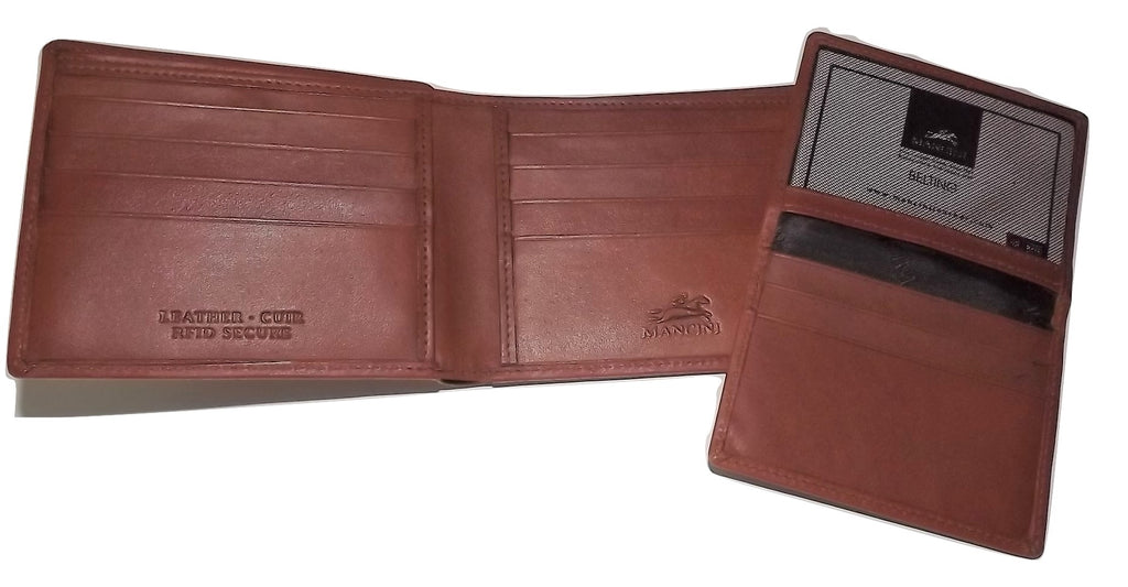 Mancini Belting Leather RFID Protected Bifold Passcase Wallet Cognac