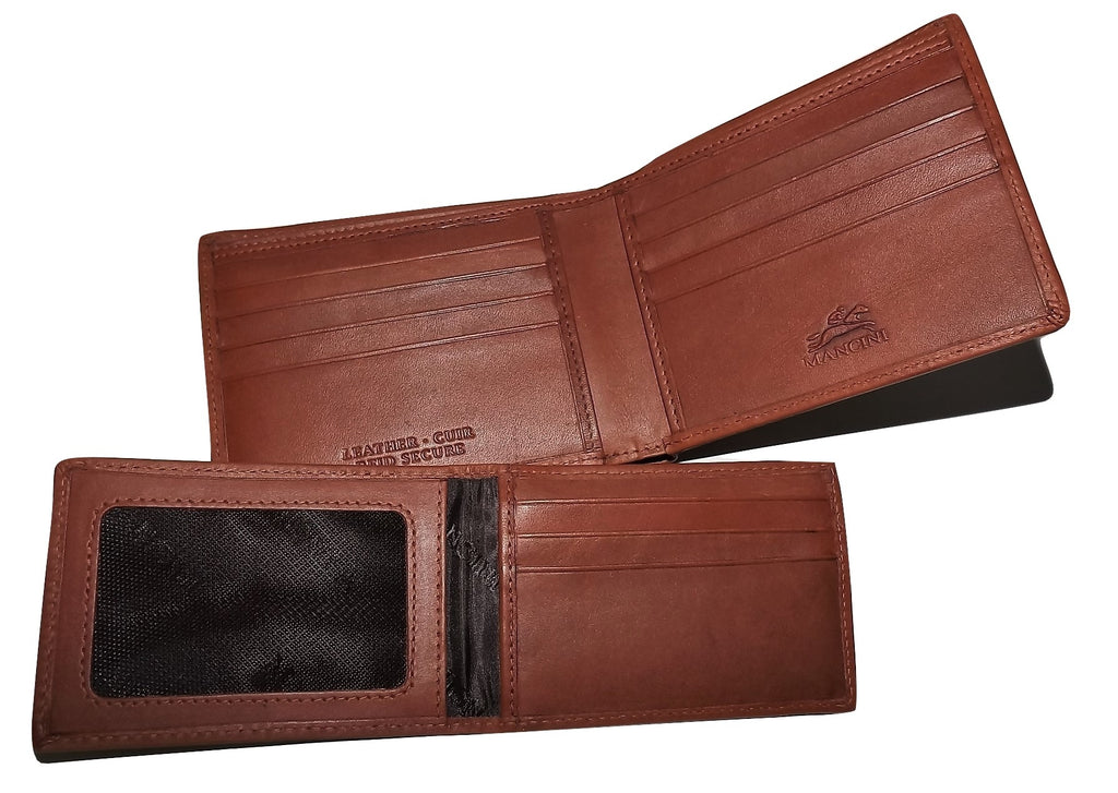 Mancini Belting Leather Bifold Wallet with Removable Passcase Cognac