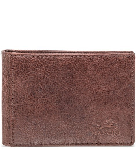 Mancini Leather Bifold Money Clip Wallet Brown