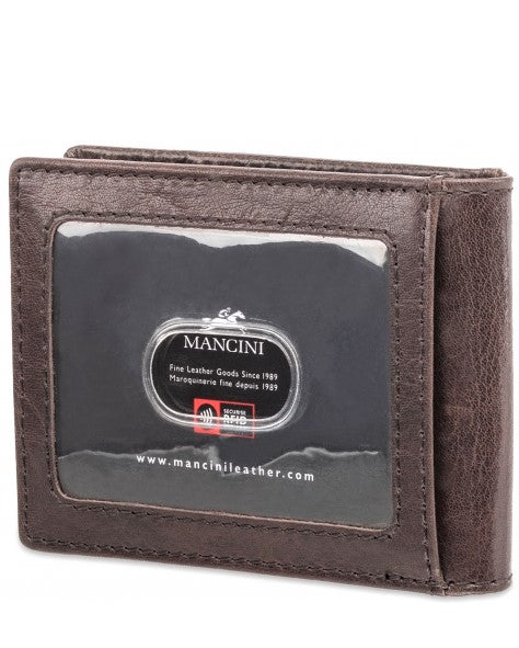 Mancini Leather Bifold Money Clip Wallet Dark Brown