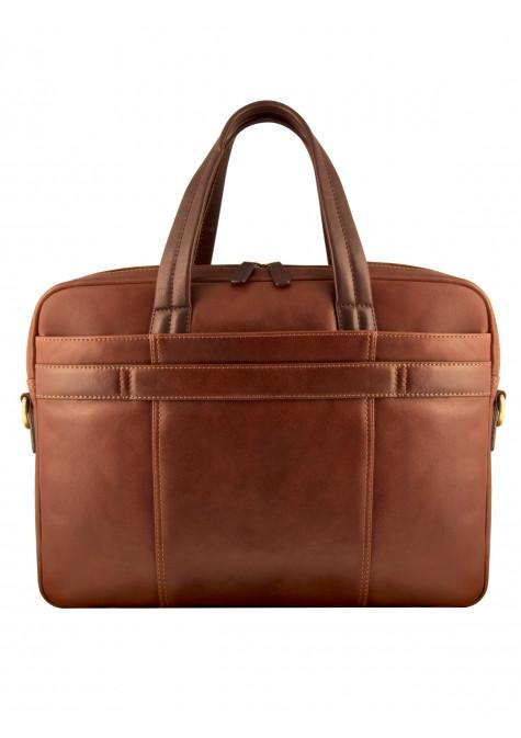 Mancini Leather Slim Dual Compartment Laptop Briefcase Brown