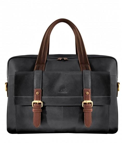 Mancini Leather Calabria Dual Compartment Briefcase Black