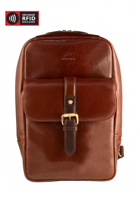 Mancini Calabria Leather Sling Backpack with Tablet Sleeve