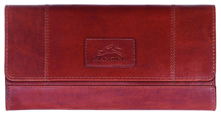 Mancini Women's Casablanca RFID Protected Credit Card Clutch Wallet Red