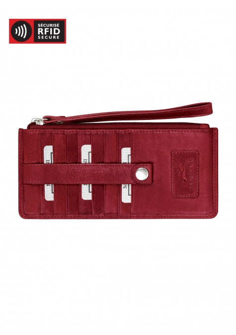 Mancini Leather Women's RFID Protected Credit Card Stacker Wristlet Wallet Red