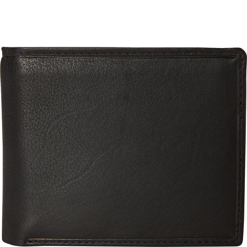 Mancini Bifold Center Flip 13 Pocket Wallet Black