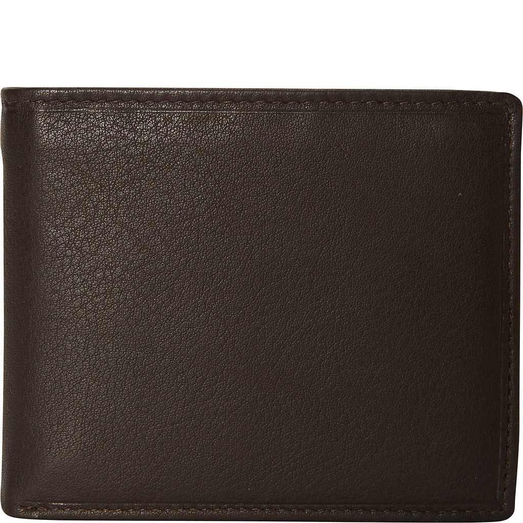 Mancini Bifold Center Flip 13 Pocket Wallet Dark Brown