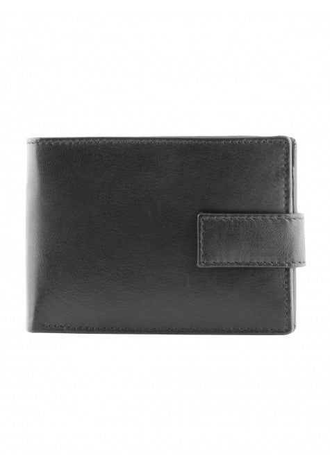 Mancini Leather Men's Puccini Bifold Credit Card Wallet with Change Pocket Black