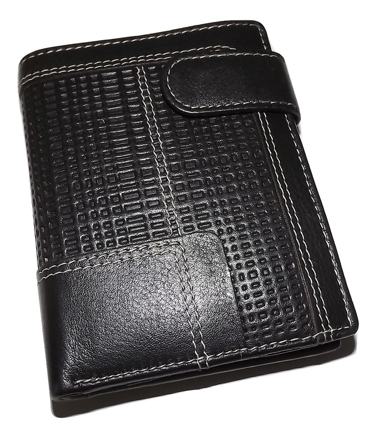 Mancini Leather Collegiate Bifold Hipster Wallet Dark Brown