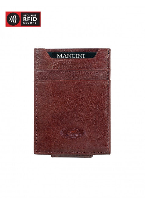 Mancini Leather Equestrian RFID Protected Front Pocket Money Clip Wallet Brown