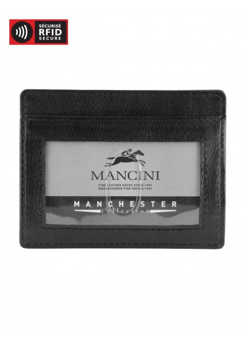 Mancini Leather Men's Front Pocket Money Clip ID Wallet Black