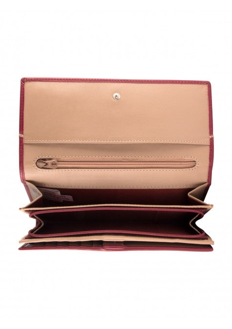 Mancini Leather Women's Gemma RFID Protected Trifold Clutch Wallet Burgundy