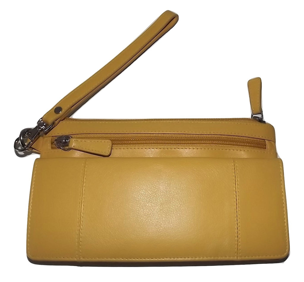 Mancini Leather Bifold Wristlet Clutch Wallet Yellow