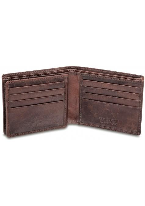 Mancini Leather RFID Center Flip ID Wallet Brown