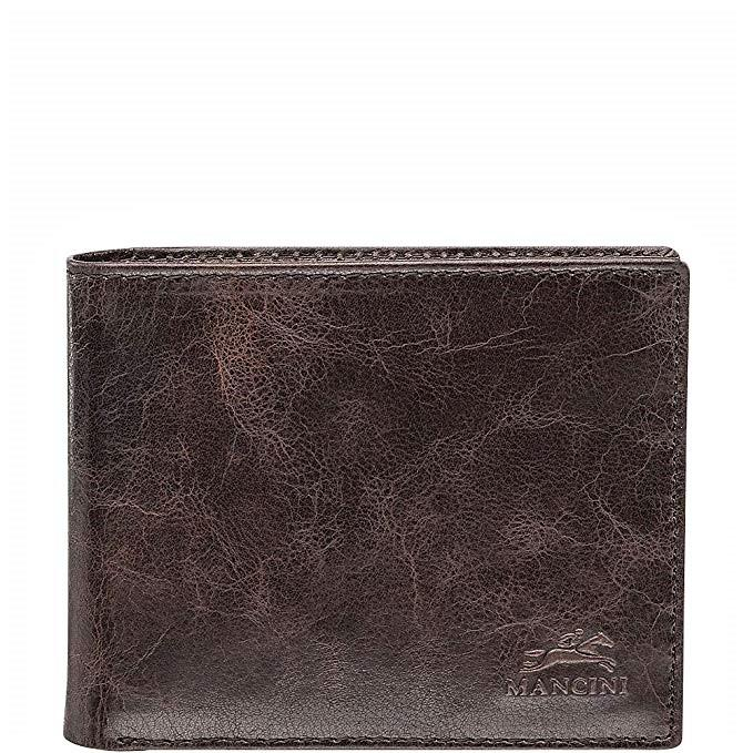 Mancini Leather RFID Center Flip ID Wallet Dark Brown