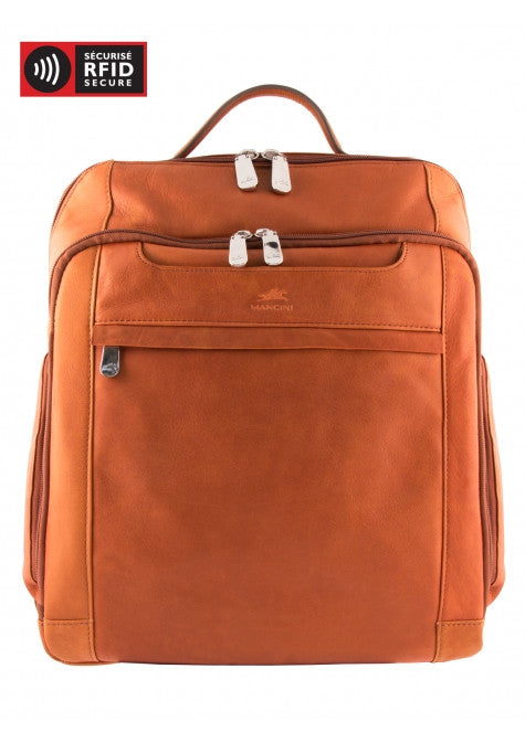 "Mancini Leather 15.6"" Laptop Tablet Business Backpack with RFID Protected Pocket"