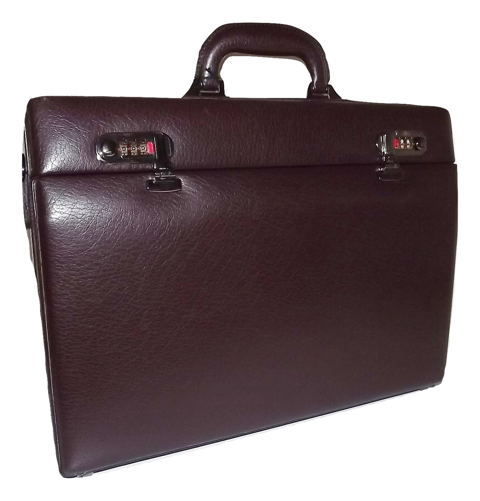 Mancini Leather Slim Attache' Laptop Briefcase Burgundy