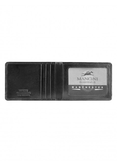 Mancini Leather Men's RFID Protected Bifold Front Pocket Money Clip Wallet Black