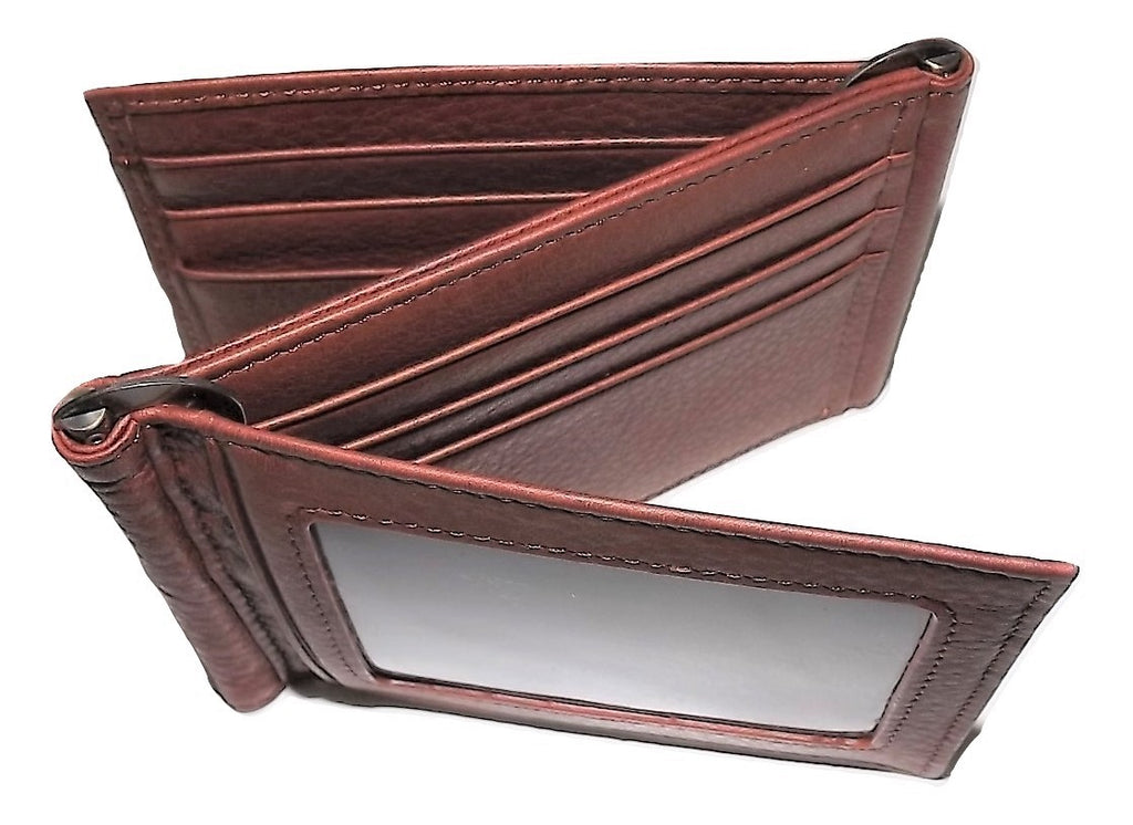 Mancini Leather Double Money Clip Front Pocket ID Wallet