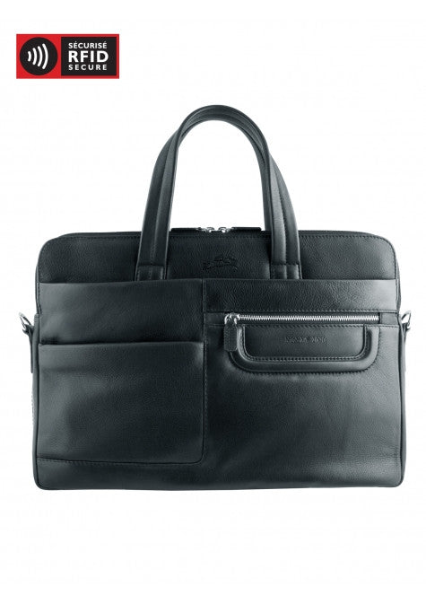 Mancini Leather Manhattan 2 Slim Dual Compartment Laptop Tablet Briefcase Black