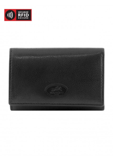 Mancini Leather RFID Protected Trifold Key Case with Valet Key Ring Black