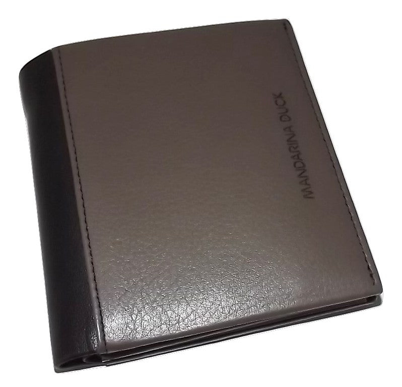 Mandarina Duck Men's Italian Leather Bifold Center Flip ID Wallet