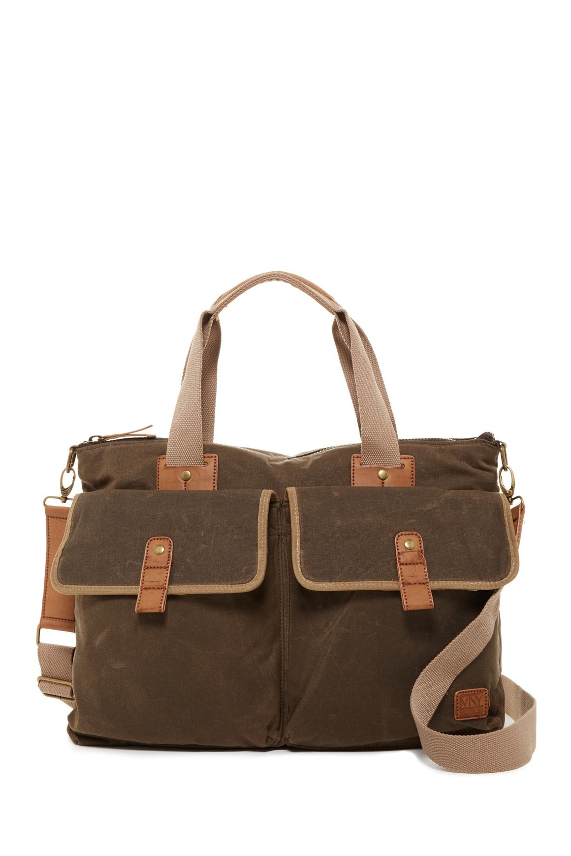 Andrew Marc NY Fairfield Canvas & Leather Brief Bag Olive