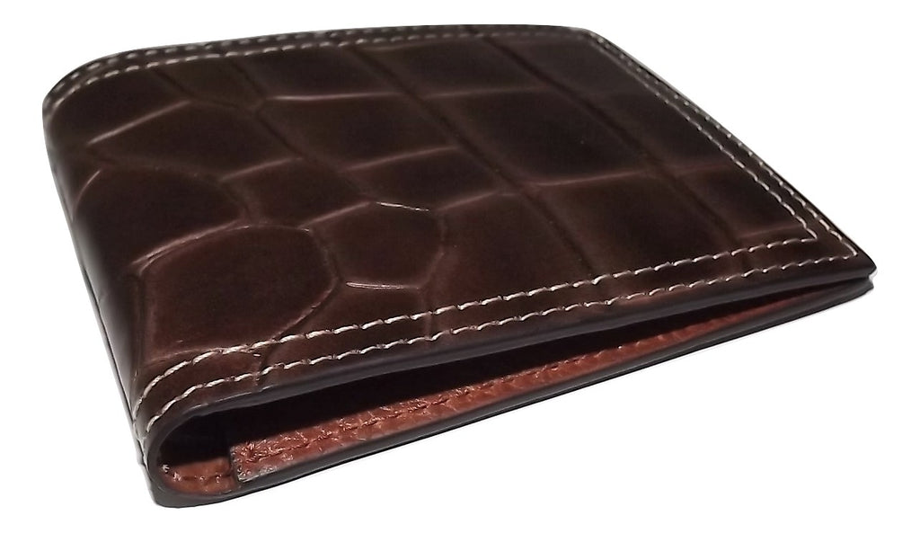 Martin Dingman Leather Croc Embossed Bifold Wallet Brown