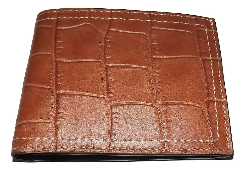 Martin Dingman Leather Croc Embossed Bifold Wallet Cognac