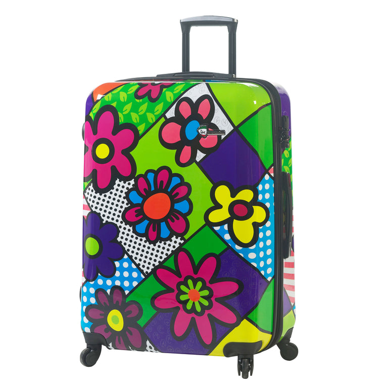 "Mia Toro Flowery 24"" Expandable Hardside 4 Wheel Spinner Luggage"