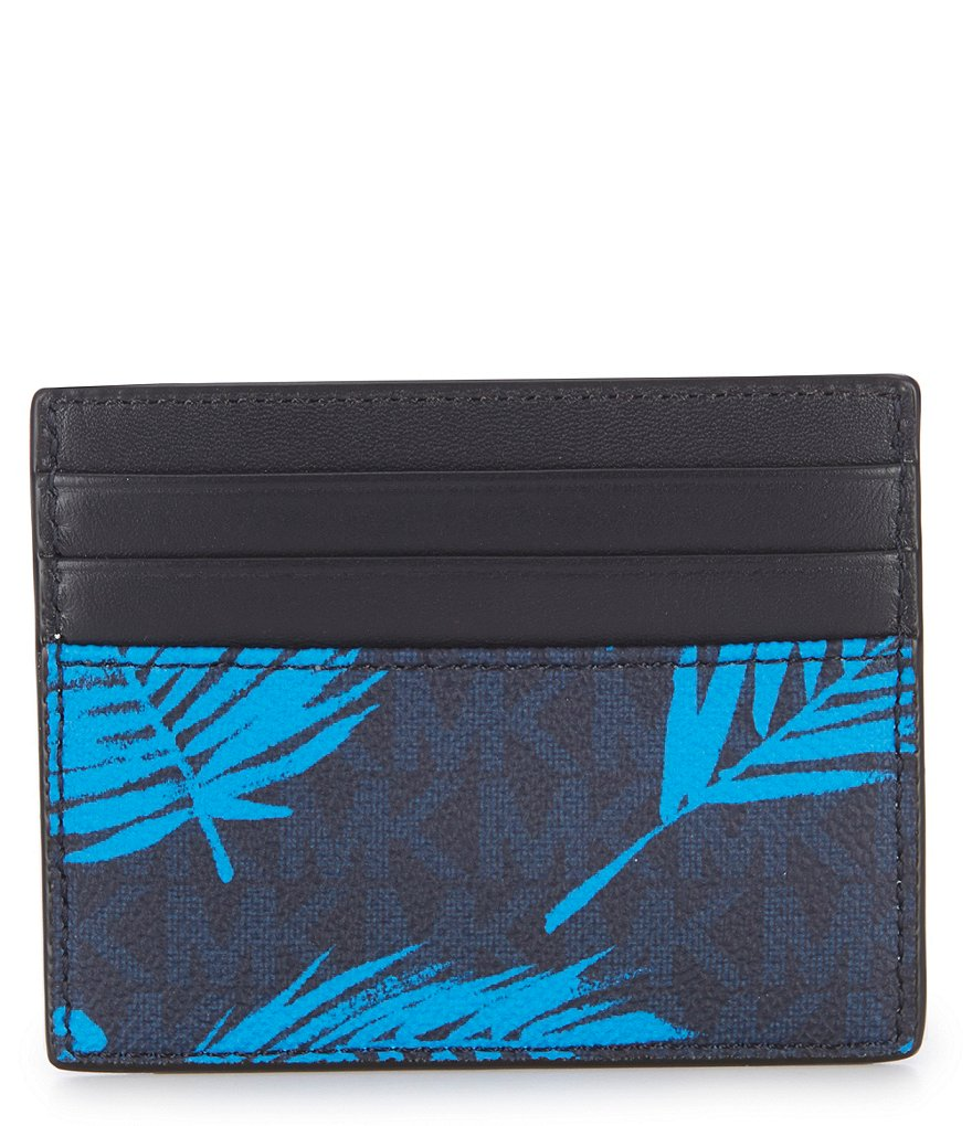 Michael Kors Jet Set RFID Palm Print Card Case Wallet Blue