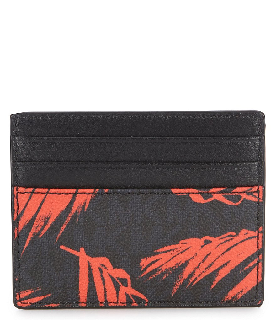 Michael Kors Jet Set RFID Palm Print Card Case Wallet Coral