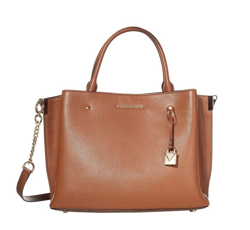 Michael Kors Arielle Triple Compartment Leather Large Satchel Cognac