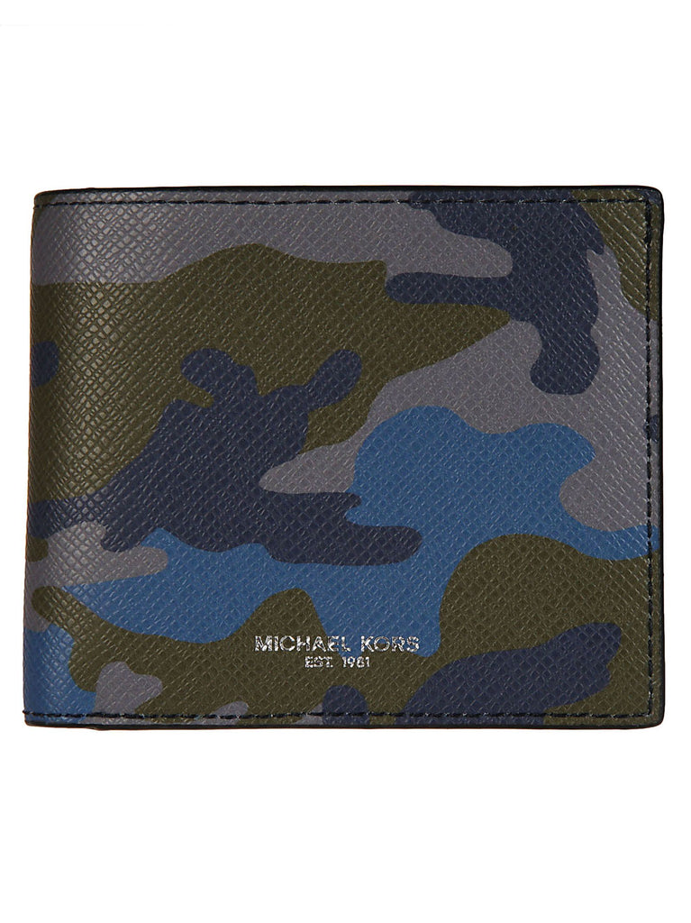 Michael Kors Harrison 6 Pocket Wallet Camo Blue