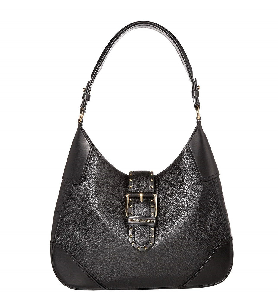 Michael Kors Leather Lillian Buckle Hobo Black