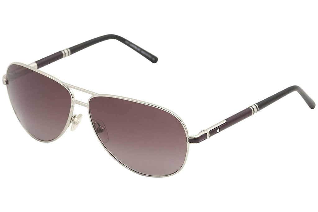Mont Blanc Pilot Aviator Sunglasses Grey Gradient Lens Silver Frame MB521S