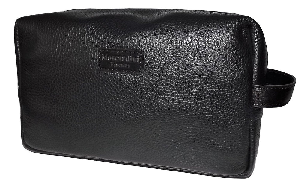 Moscardini Italian Pebbled Leather Shave Kit Black