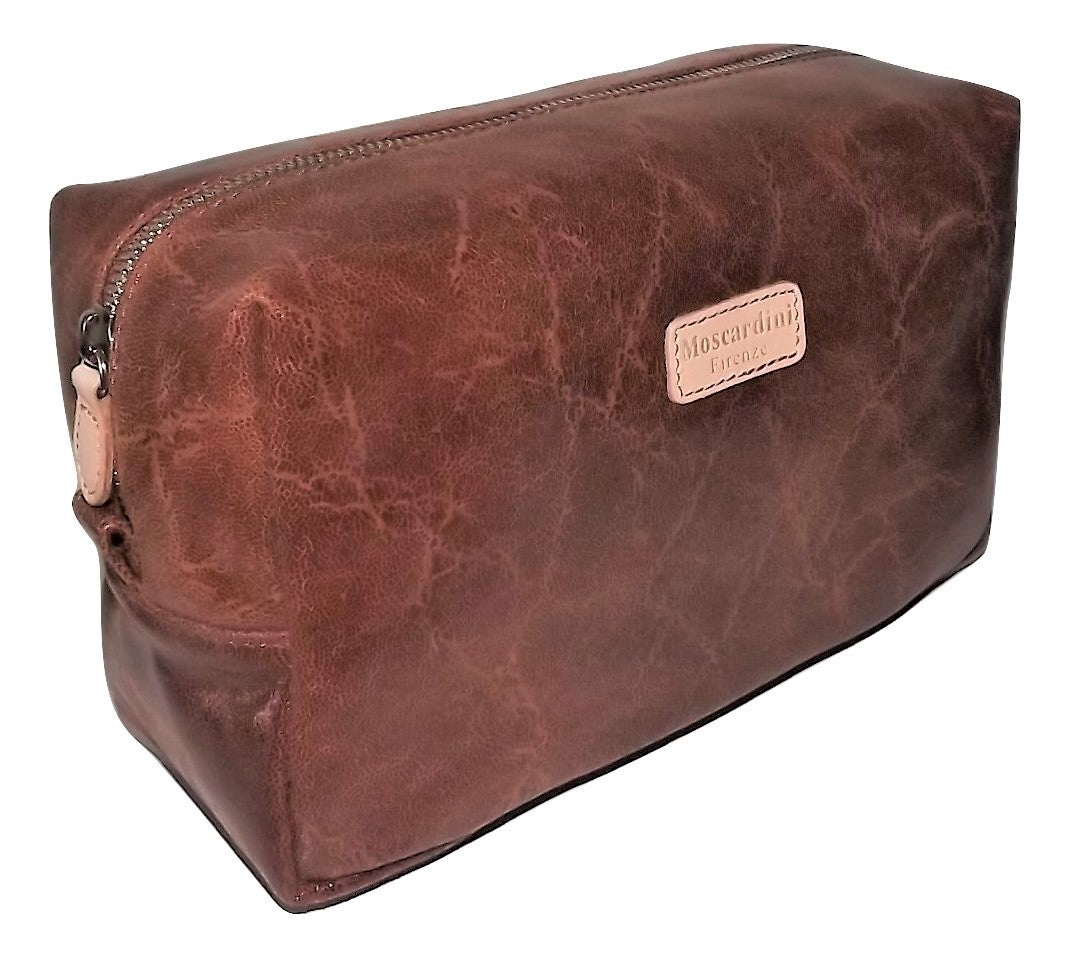 Moscardini Leather Toiletry Shave Kit Cognac