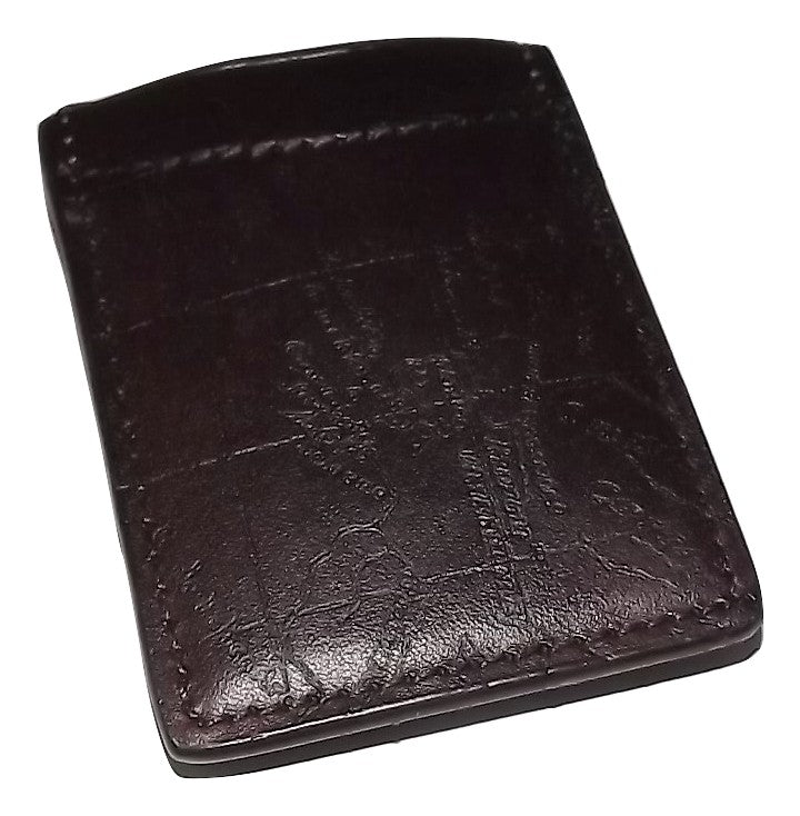 Patricia Nash Men's Vintage Map Money Clip Wallet Rust