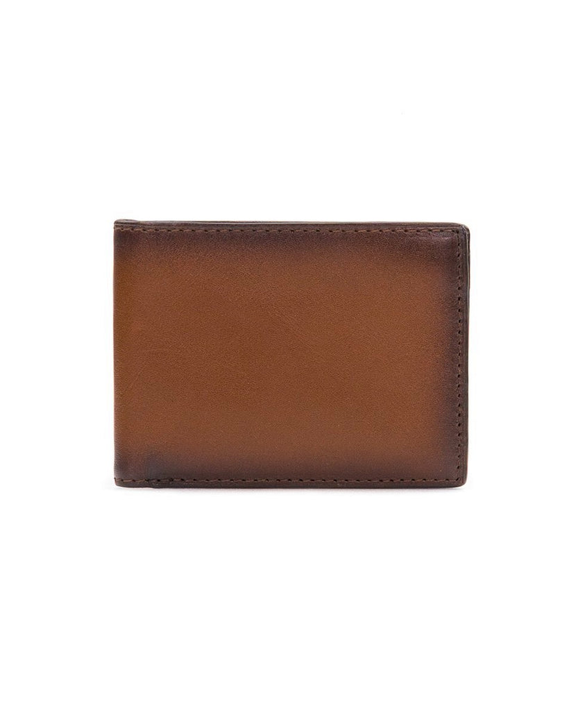 Patricia Nash Hand Stained Leather Double Billfold Wallet Tan