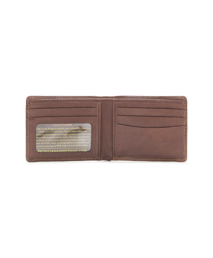 Patricia Nash Vintage Leather Double Billfold Wallet Brown