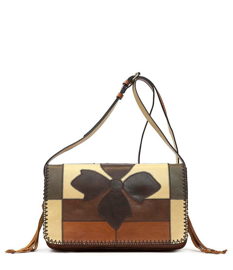 Patricia Nash Women's Leather Zig Zag Patchwork Bari Square Crossbody Bag Multi