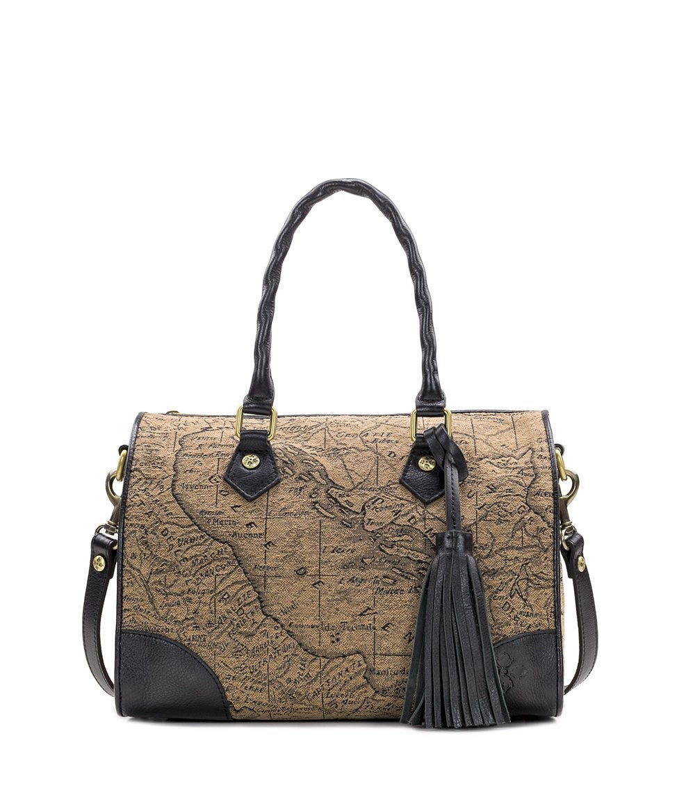 Patricia Nash Boretto Satchel Map Jacquard Tan Black
