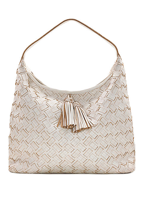 Patricia Nash Braided Stitch Marcellina Hobo White